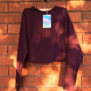 Monki Crop Long Sleeve Top