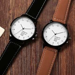 韓國大錶盤簡約個性手錶 咖啡色