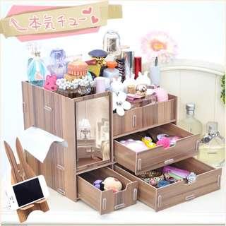 大号木质木制桌面整理收纳盒抽屉 带镜子化妝盒收纳箱