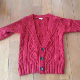 Cute Knit Cardigan (Red)