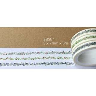 Skinny Patterned Combo #8381 Washi Tape 3 Rolls in One Combo 3x7mmx5m