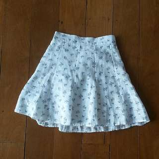 Korean Floral White Skirt