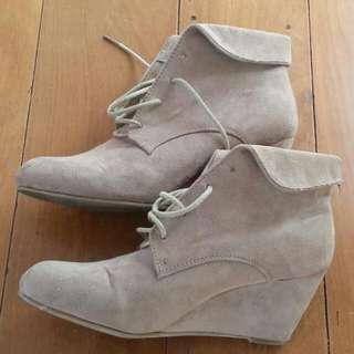 Tan Felt Boots