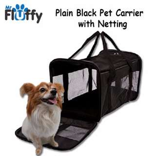 Plain Black Pet Carrier with Netting