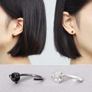 純銀耳環 黑色三爪黑色水晶 氣質韓國簡約個性耳飾