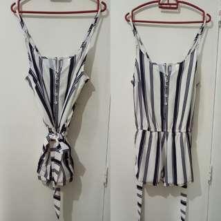 ANGEL BIBA navy striped playsuit