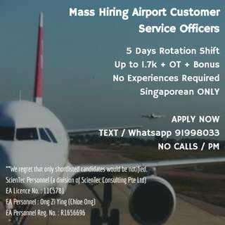 Airport Customer Service Officer Mass Hiring (Immediate Interview / 5 Days / Up to 2k / No Experiences Required)