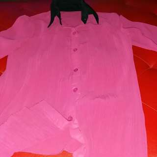 Pink with black collar polo