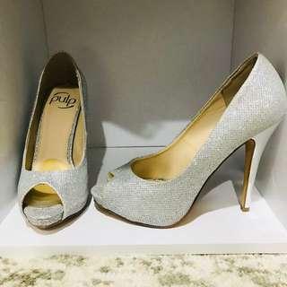 Elegant sparkly silver heels