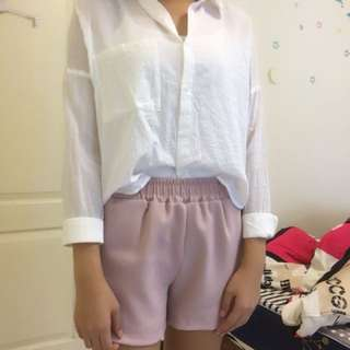 MIXXO白色短版襯衫-M