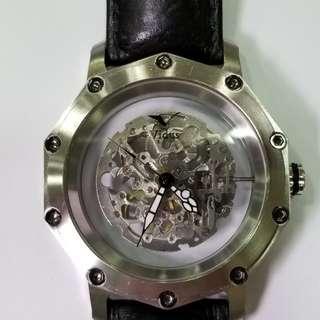 skeleton, miyota movement, watch