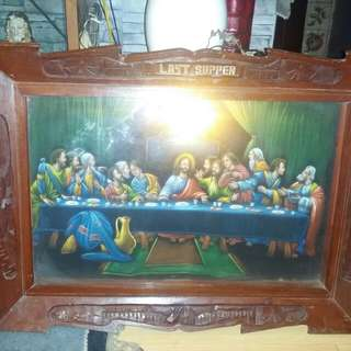 Antique  hang wall Last supper,oil painting canvas. Narra frame