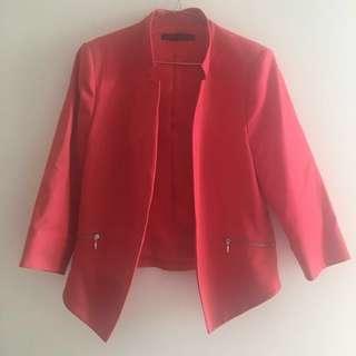 Pink Collarless Blazer