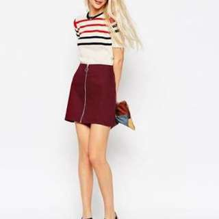 Maroon Aline Denim Skirt