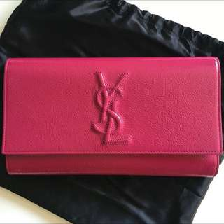 Authentic YSL Saint Laurent Belle De Jour Fuchsia Pink Patent Leather Clutch Bag