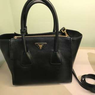 PRADA Prada Glance Twins Leather Shopping Tote with Shoulder Strap