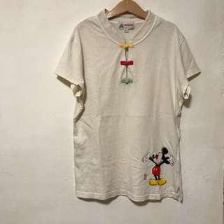 香港迪士尼 米奇純棉短t 性感中國風