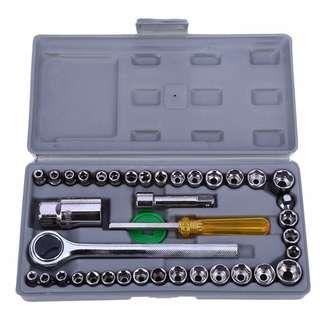 💯 40pcs Motorcycle Repair Tool Case Socket Wrench Sleeve Screwdriver Kit