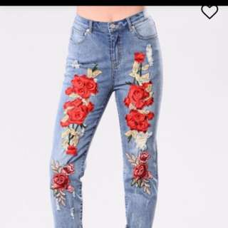 FashionNova Boyfriend Distressed Embroidered Jeans