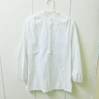 全新白色棉麻泡泡袖襯衫