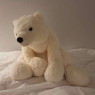Indigo Large White Bear Plush