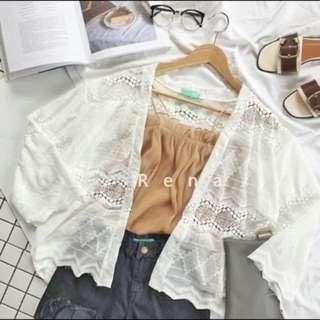 出清特賣‼️蕾絲縷空輕薄罩衫#防曬#度假#涼感#薄外套