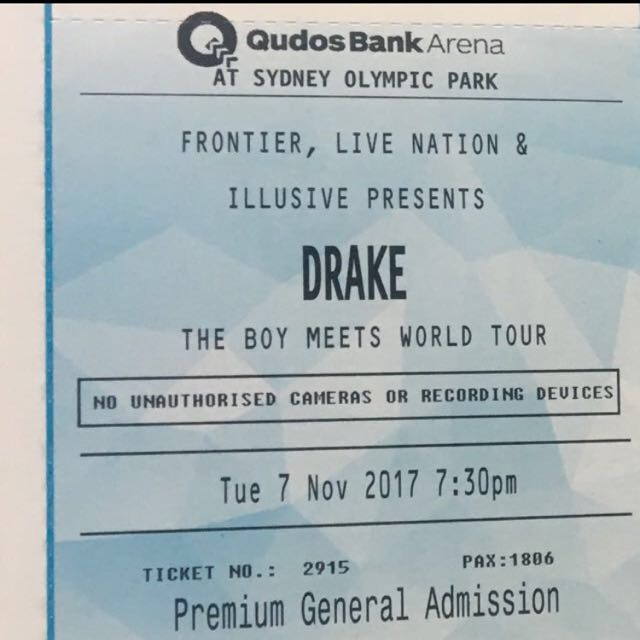 2 X PREMIUM GA DRAKE TICKETS 7th OF NOV FIRST SHOW