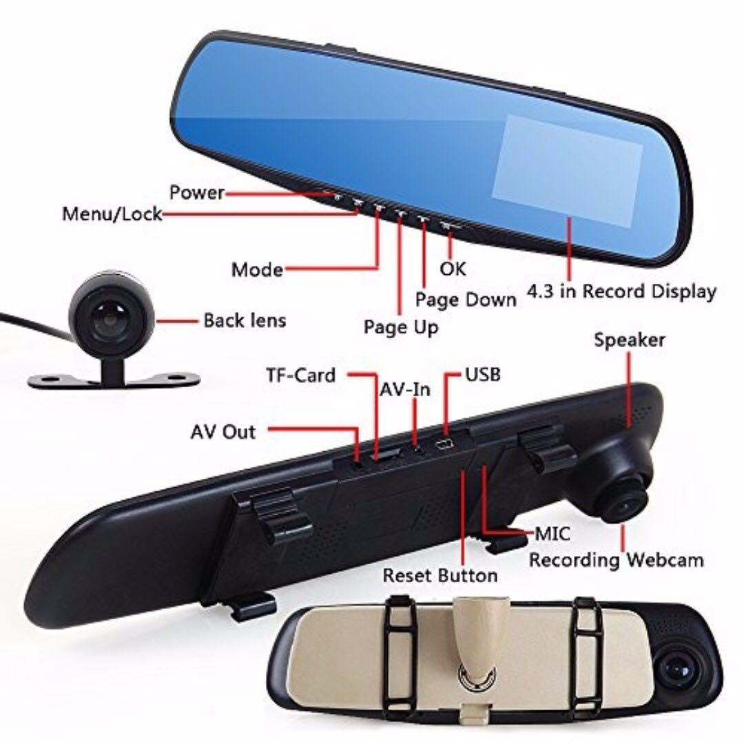 4 3 hd 1080p dual lens car rear view mirror dvr camera dash cam recorder aksesori auto di. Black Bedroom Furniture Sets. Home Design Ideas