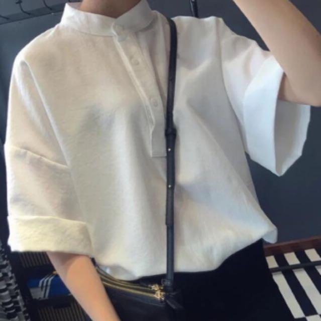 立領白襯衫