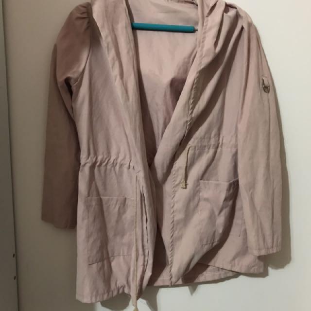 煙燻粉色 風衣外套