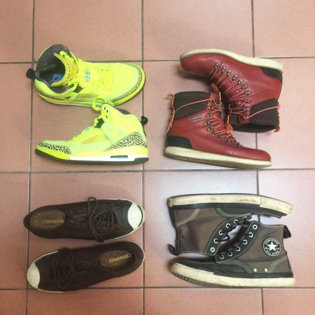 喬丹 帆布鞋 皮革靴 開口笑皮革帆布鞋