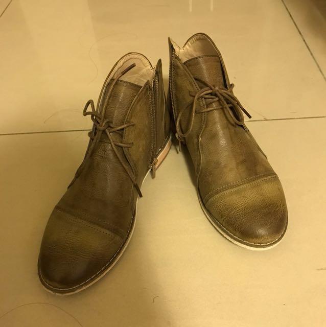 正韓 韓國購入 拉鍊 踝靴 軍靴