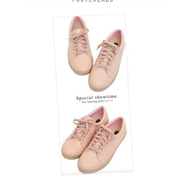 ann's 粉色素面皮革綁帶休閒鞋 41號