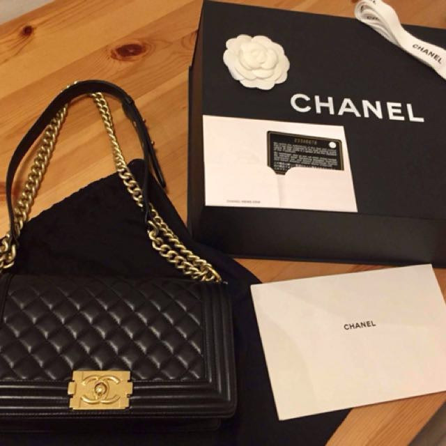 56e98eeb1621 Authentic Chanel Le boy Old Medium in Black lambskin in Brushed Gold  Hardware, Luxury, Bags & Wallets on Carousell