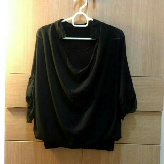 Blouse big size black