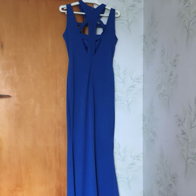 Blue tight fitted maxi dress with slit