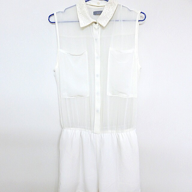 [BN] SEED Laced Collar Sheer White Romper