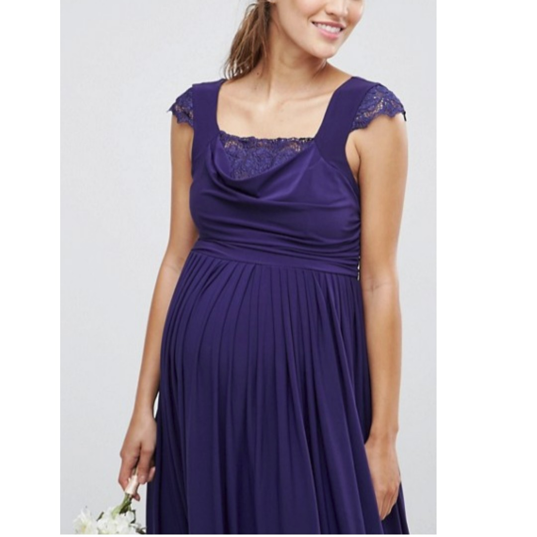 a4ca2674dcc BNIB - ASOS Maternity WEDDING Lace Insert Cowl Maxi Dress - UK 6 (Navy)