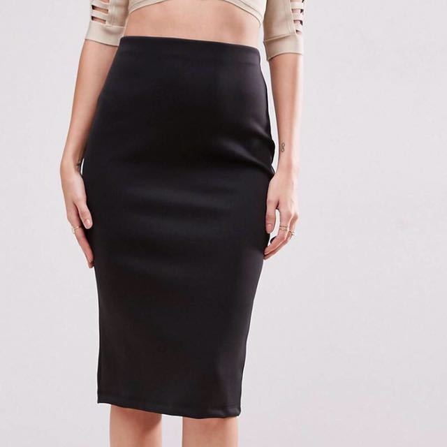 BNWT ASOS Sz 6 Black Scuba Pencil Skirt