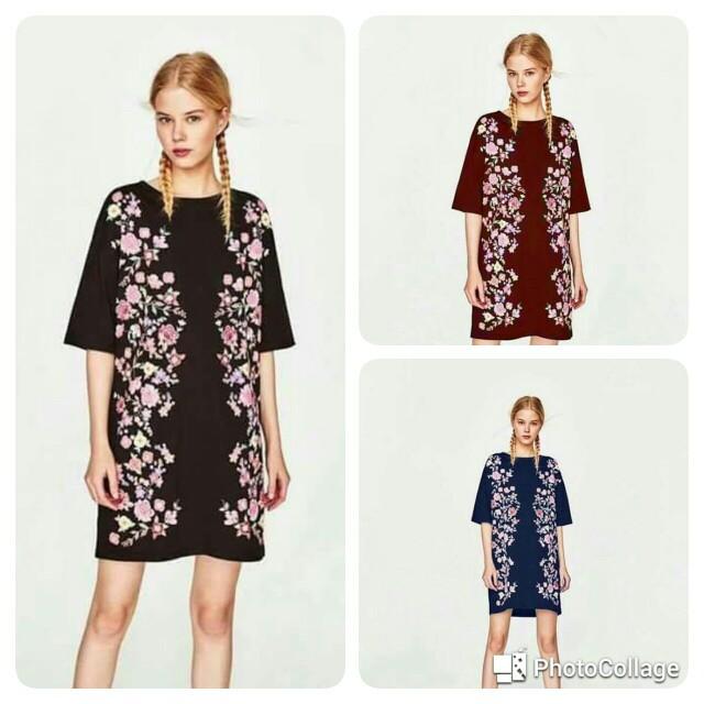 🐊Bubble floral print T shirt dress