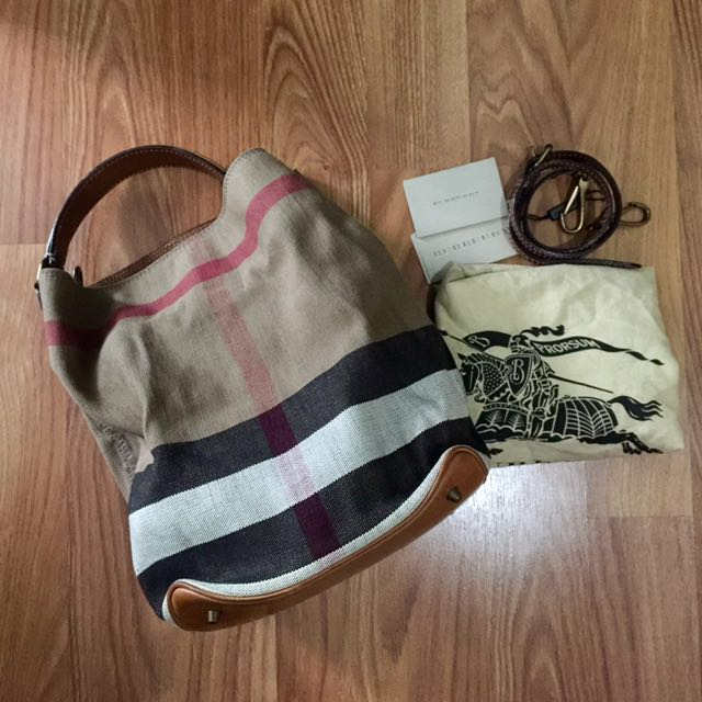Burberry canvas tote saddle brown