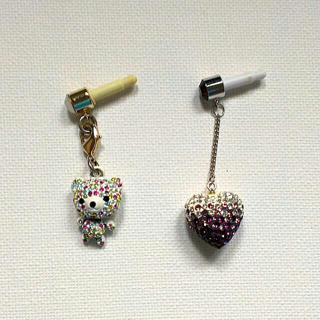 Cellphone Charms Rainbow Bear and Purple Ombre Heart