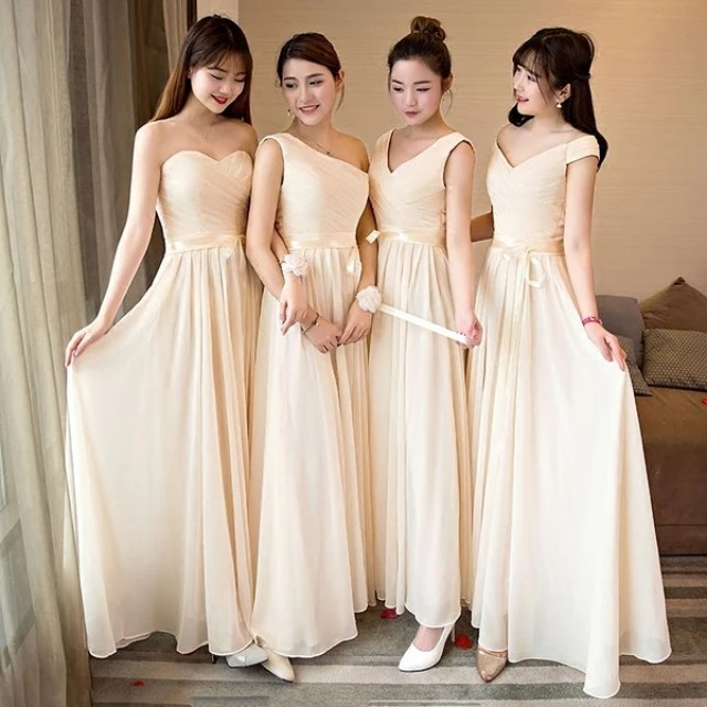 469546b6e883dc Champagne colored bridesmaid dresses!! 4 different design available :),  Women's Fashion, Clothes, Dresses & Skirts on Carousell