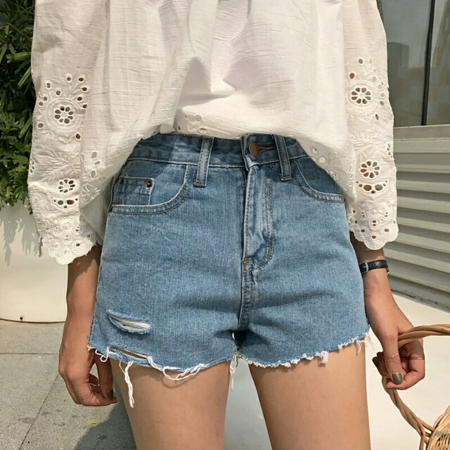 Denim ripped frayed shorts bandits blue