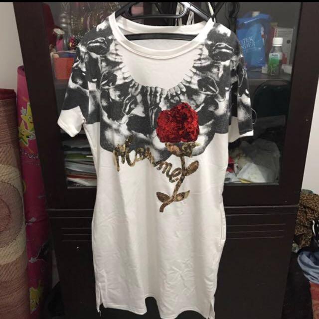 Dress white bkk rose