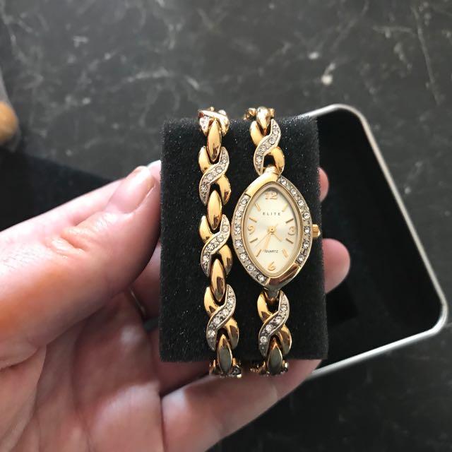 Elite ladies gold watch with matching bracelet bnib rrp $199
