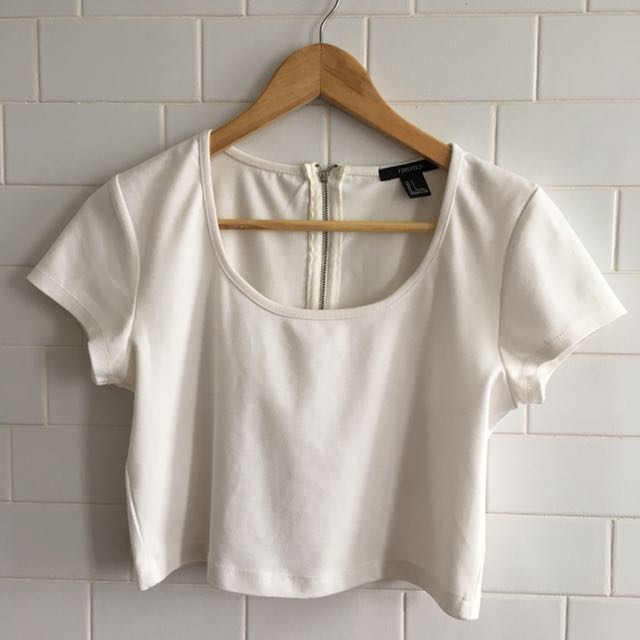 Forever21 White Crop Top