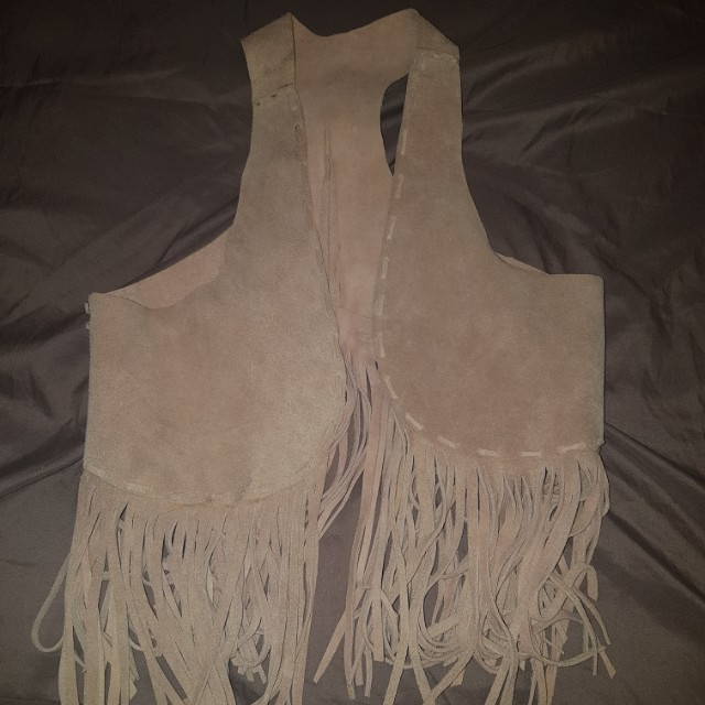 Fringe vest jacket leather
