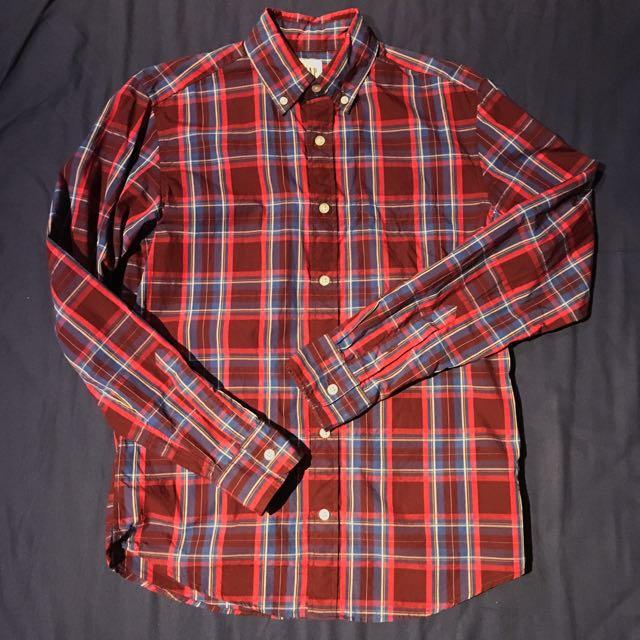 《GAP 紅x藍 格紋襯衫》Size xxs
