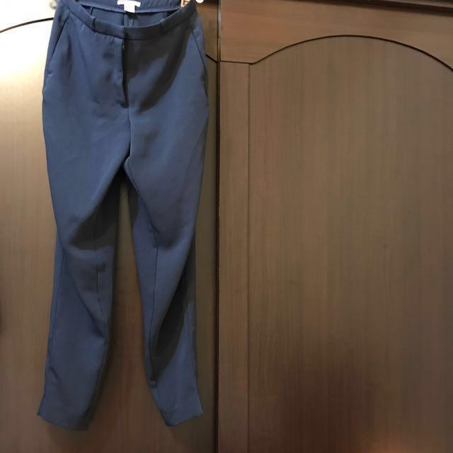 H&M 雪紡 材質 深藍 西裝 9分褲 不會皺 25腰#長褲特賣